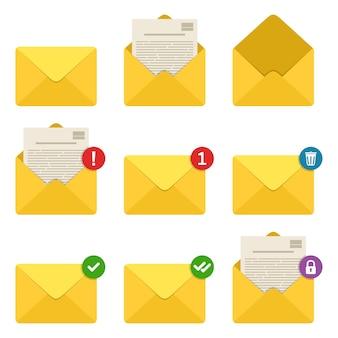 Conjunto de iconos de notificaciones de sobres de correo.