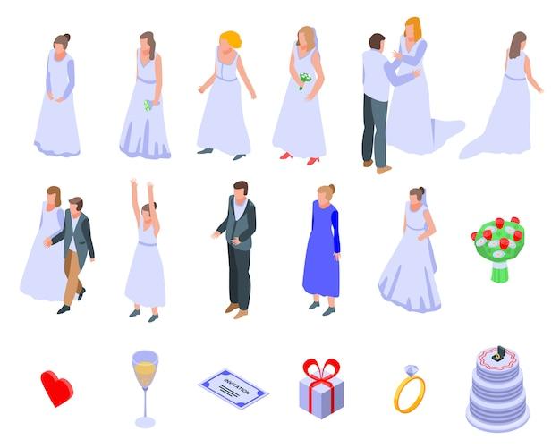 Conjunto de iconos de novia, estilo isométrico
