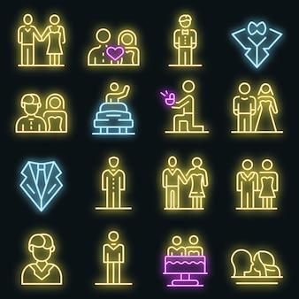 Conjunto de iconos de novio. esquema conjunto de color neón de los iconos de vector de novio en negro
