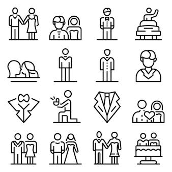 Conjunto de iconos de novio, estilo de contorno