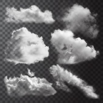 Conjunto de iconos de nubes blancas realistas con diferentes formas y tamaños