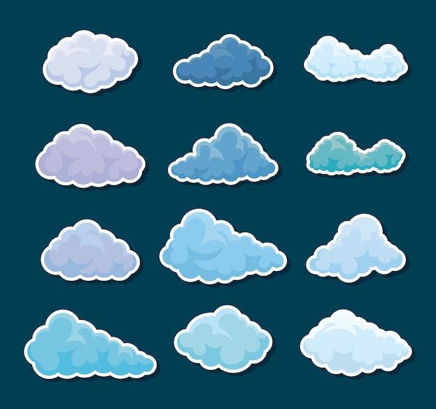 Conjunto de iconos de nubes