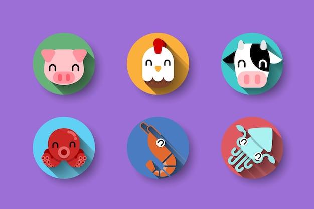 Conjunto de iconos de nutrición de animales de granja.