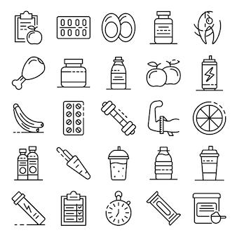 Conjunto de iconos de nutrición deportiva, estilo de contorno