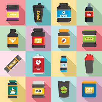 Conjunto de iconos de nutrición deportiva, estilo plano