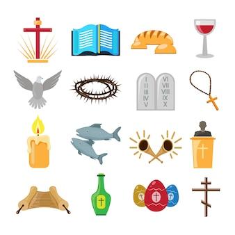 Conjunto de iconos o elementos de cristianismo