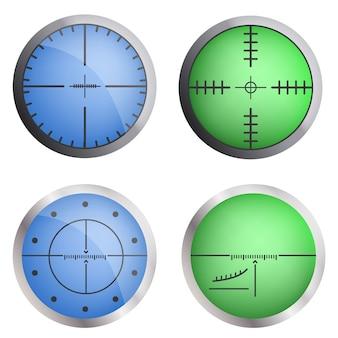 Conjunto de iconos de objetivo de mira. conjunto realista de iconos de vector de destino de mira para diseño web