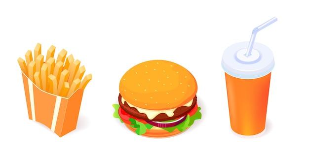 Conjunto de iconos de objetos de comida: hamburguesa, cola y papas fritas sobre fondo blanco.