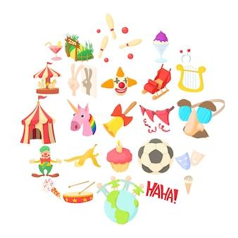 Conjunto de iconos de objetos divertidos, estilo de dibujos animados