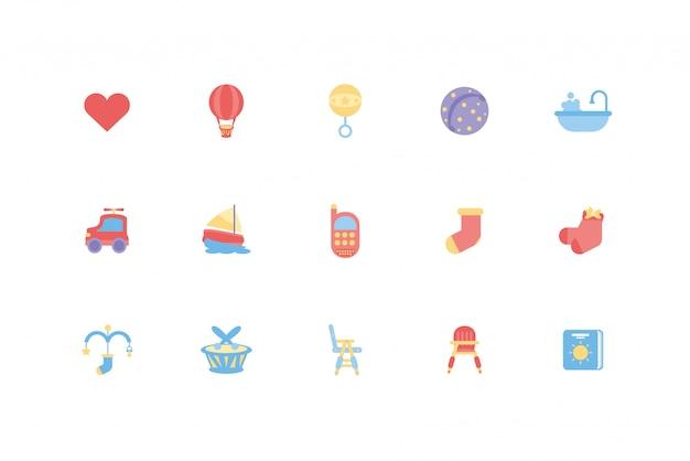 Conjunto de iconos de objetos y juguetes de bebé aislado