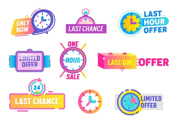 Conjunto de iconos de oferta limitada de última oportunidad aislado sobre fondo blanco.