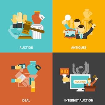 Conjunto de iconos de oferta de subasta