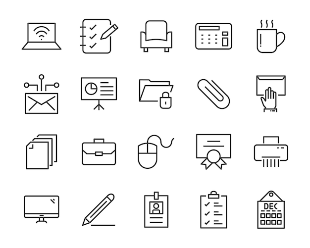 Conjunto de iconos de oficina, como sala de reuniones, documento, café, papel, bolígrafo, computadora portátil
