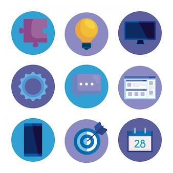 Conjunto de iconos de oficina para estrategia de medios de negocios