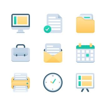 Conjunto de iconos de oficina y negocio