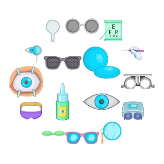 Conjunto de iconos de oftalmólogo, estilo de dibujos animados