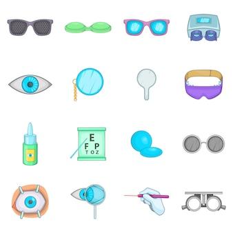 Conjunto de iconos de oftalmólogo