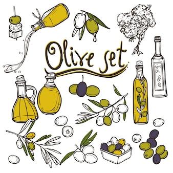 Conjunto de iconos de oliva