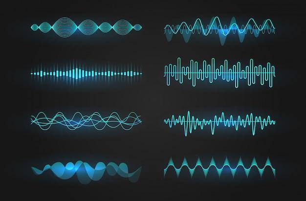 Conjunto de iconos de ondas sonoras. líneas luminosas que representan un sonido o una onda de radio, ecualizador de música o cardiograma digital, plantilla de elemento de diseño gui. ilustración aislada
