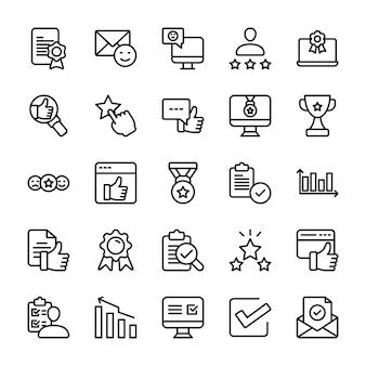 Conjunto de iconos de opinión emocional y línea de lista de verificación