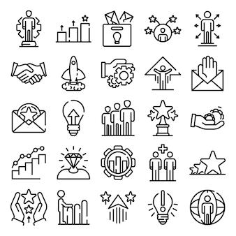 Conjunto de iconos de oportunidad, estilo de contorno