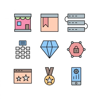 Conjunto de iconos de optimización de motores de búsqueda