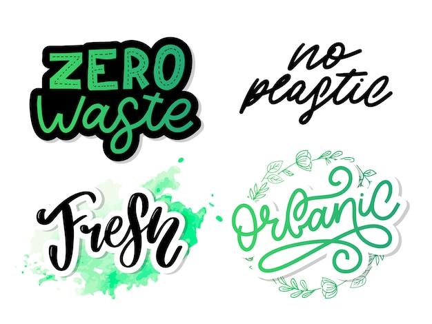 Conjunto de iconos orgánicos caligráficos dibujados a mano cero desperdicio, vegano, salvar el planeta, sin plástico