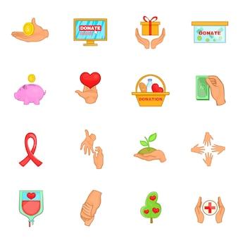 Conjunto de iconos de organización de caridad