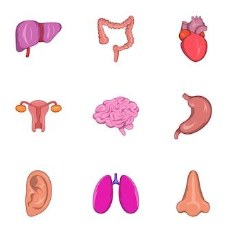 Conjunto de iconos de órganos humanos, estilo de dibujos animados