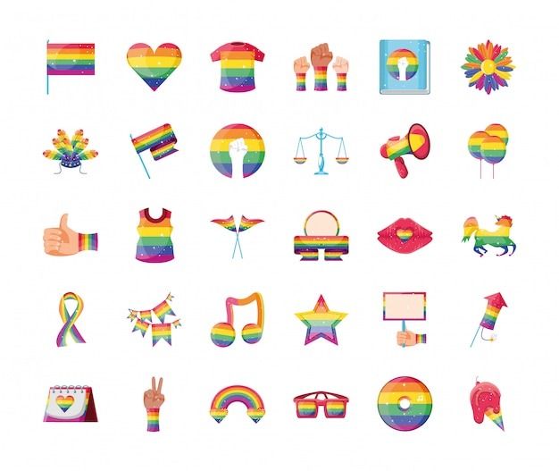 Conjunto de iconos orgullo gay