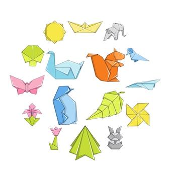Conjunto de iconos de origami, estilo de dibujos animados