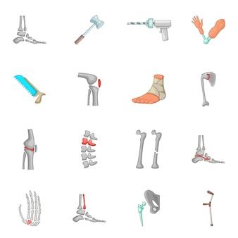 Conjunto de iconos de ortopedia y columna vertebral