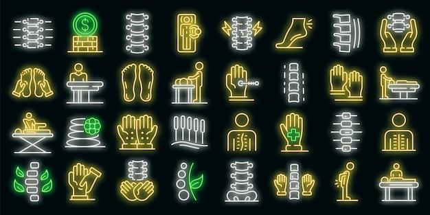 Conjunto de iconos de osteopatía. esquema conjunto de iconos de vector de osteopatía color neón en negro