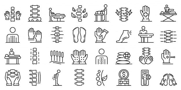 Conjunto de iconos de osteopatía, estilo de contorno