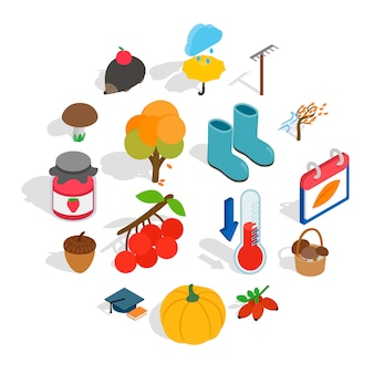 Conjunto de iconos de otoño, estilo isométrico 3d