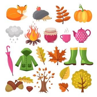 Conjunto de iconos de otoño. varios símbolos del otoño