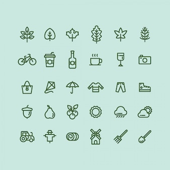 Conjunto de iconos de otoño