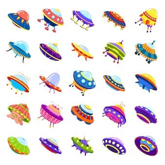 Conjunto de iconos de ovnis, estilo de dibujos animados