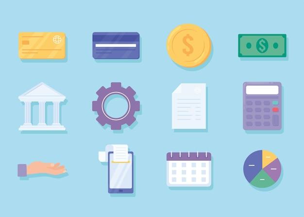Conjunto de iconos de pago financiero