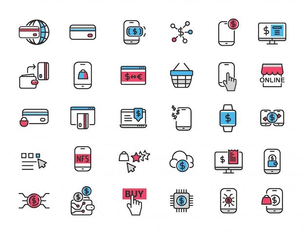 Conjunto de iconos de pago lineal en línea banco en línea