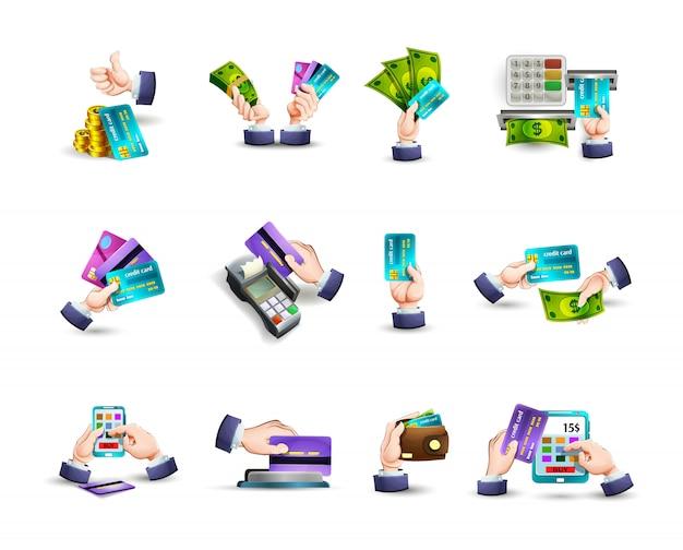 Conjunto de iconos de pago de tarjeta de crédito de manos