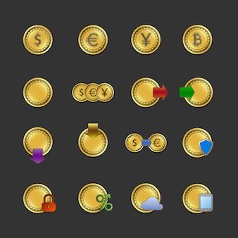 Conjunto de iconos para pagos y transacciones electrónicas.