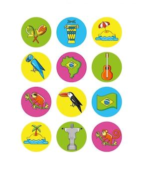 Conjunto de iconos de país de brasil