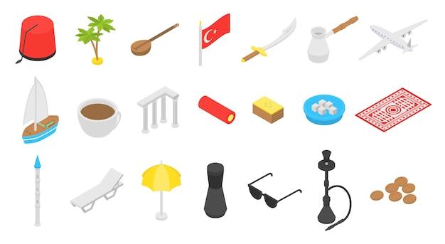 Conjunto de iconos de país de turquía