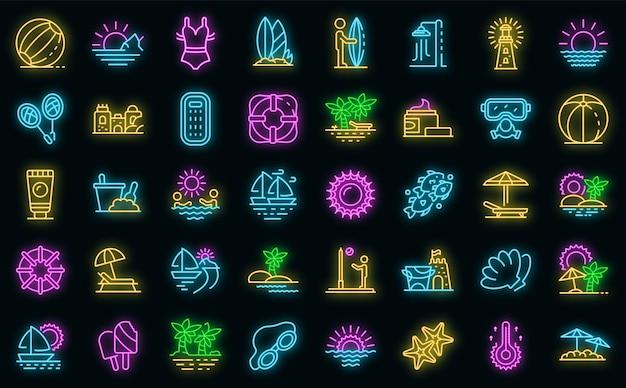 Conjunto de iconos de paisaje de playa. esquema conjunto de iconos de vector de paisaje de playa color neón en negro