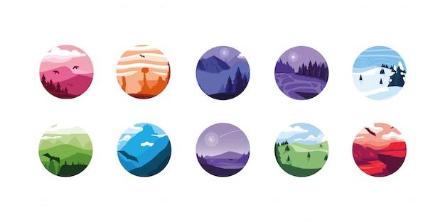 Conjunto de iconos de paisajes aislados