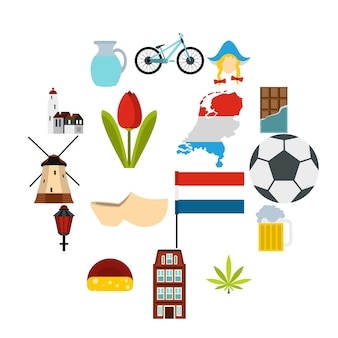 Conjunto de iconos de países bajos, estilo plano