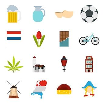 Conjunto de iconos de países bajos