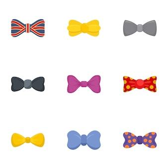 Conjunto de iconos de pajarita de moda, estilo plano