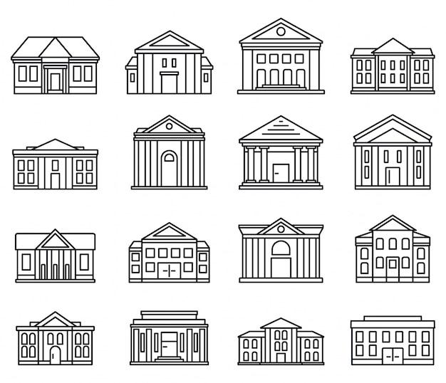 Conjunto de iconos de palacio de justicia de la ciudad